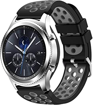 CreateGreat Compatible for Samsung Galaxy Watch 46mm,Gear S3 Soft Replacement Breathable Sport Bands with Air Holes and Quick Release Pin for Samsung ...