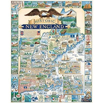 White Mountain Puzzles Historic New England - 1000 Piece Jigsaw Puzzle: Toys & Games