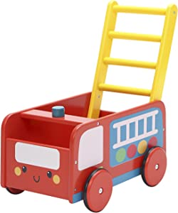 labebe - 4 Wheels Walker for Baby, Red Push Wagon Cart for Kid, Push Toy Walker for Girl/Boy 1-3 Years Old, Toy Shopping Cart, Wooden Wagon Toy, Baby Activity/Learning Walker Infant- Red Fire Truck