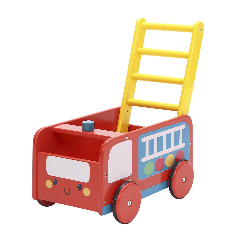Labebe Andador de Madera, Uso 2 en 1 como Carro, Camión de Bomberos Rojo, Andador de Bebé Por 1-3 Años, Andador de Paseo, Andador, Andador de Madera/De ...