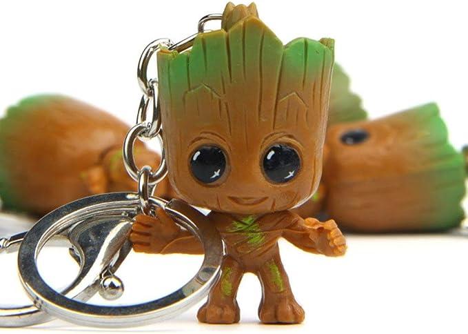4 PCS Mini Groot Poup/ée Porte-cl/és Jouets pour Enfants Gardiens Galaxy B/éb/é Treeman Porte-cl/és Pendentif Action Figures D/écor de Table