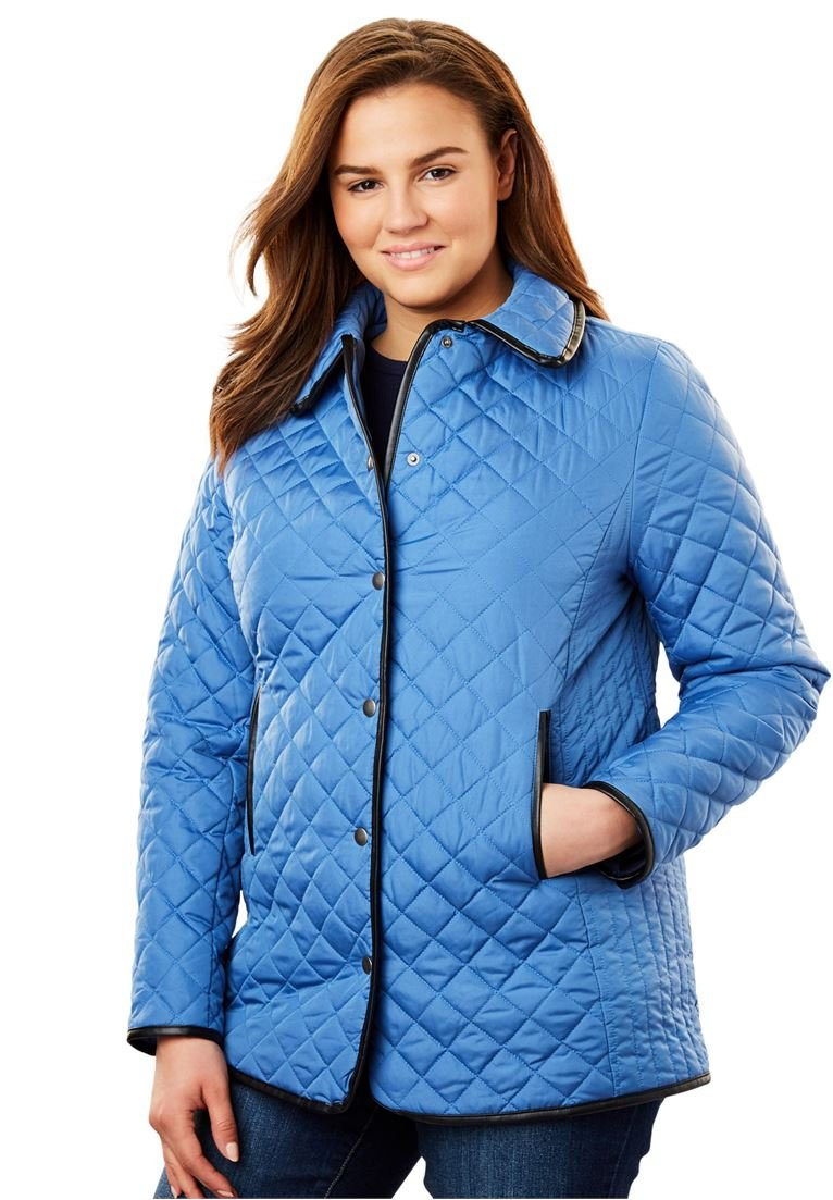 Woman Within Plus Size Light Quilted Snap-Front Jacket