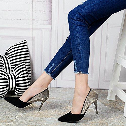 KHSKX-Otoño Zapatos De Tacon Alto De Moda Europea Y Americana De Color Nuevo Hechizo Frosted Zapatos De Mujer Zapatos De Tacon Fino La Cúspide Los ZapatosTreinta Y CuatroBlack