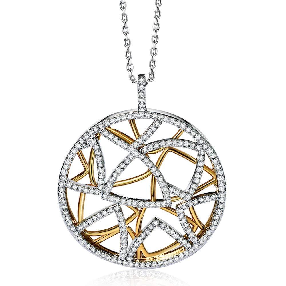 QMM necklace Pendant Triangles Round Pendant Necklace for Women 2 Tones gold color Collana Zirconia Wedding Jewelry