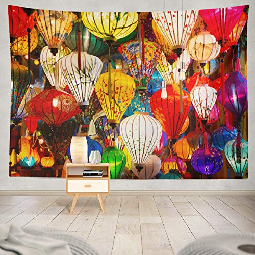 Soopat Tapestry Polyester Fabric Beautiful Decoration Light Night Market Vietnam Lantern Chinese Ancient Wall Hanging Tapestry Decorations for Bedroom Living Room Dorm 60X50 inch