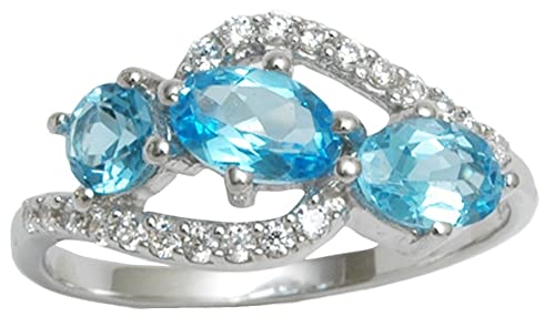 Banithani 925 Sterling Silver Wonderful Swiss Blue Topaz Stone Ring Women Fashion Jewellery riVbQ75v1s