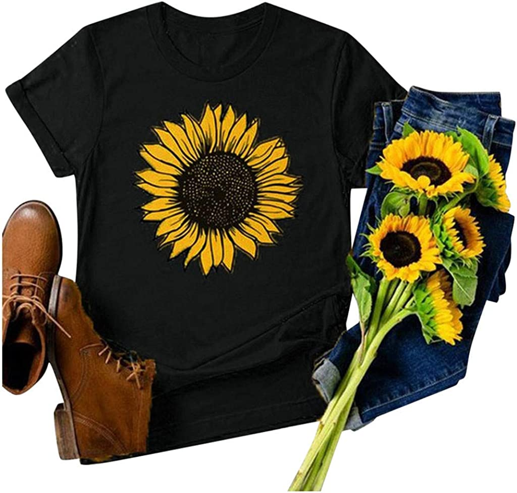 VEKDONE Women Long Sleeve T Shirts Sunnflower Graphic Tees Shirt Casual Cotton Tees Tops Blouse for Teen Girls Junior