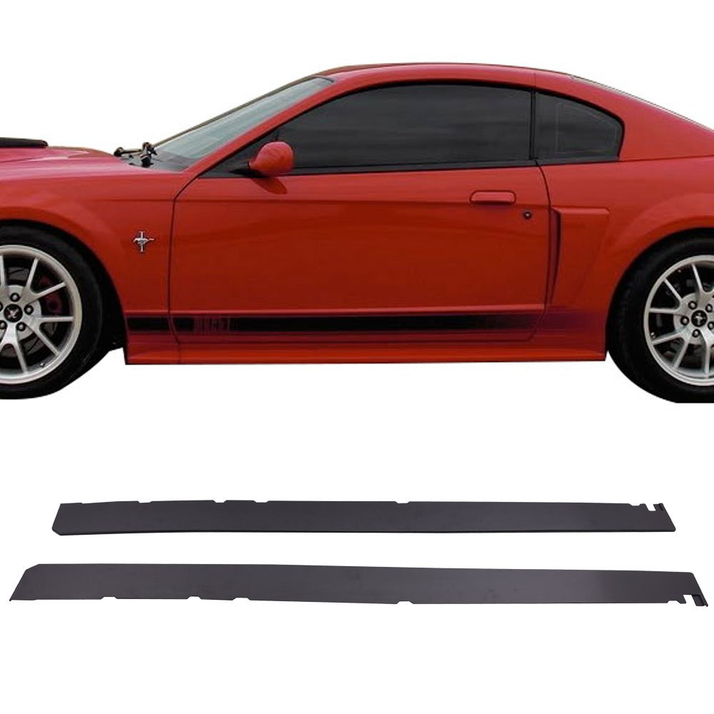 Side Skirts Fits 1999-2004 Ford Mustang | Bottom Line Style Black PP Sideskirt Rocker Moulding Air Dam Chin Diffuser Bumper Lip Splitter by IKON MOTORSPORTS| 2000 2001 2002 2003