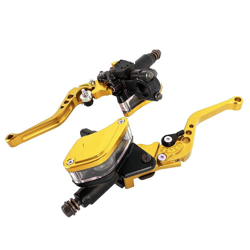 Oro Manijas hidr/áulicas de la bomba motocicleta 7//822m m Palancas de embrague de freno Conjunto de dep/ósito doble maestro cilindro Para Ducati para Yamaha Para bicicleta de calle