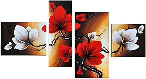 Noah Art-Modern Flower Artwork, Spring Blooming Tulip Flowers Pictures 100 Hand Painted Flower Oil Paintings on Canvas, 4 Panel Framed Red Flower Wall Art for Bedroom Home Decorations