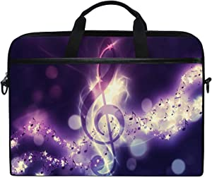 MRMIAN Hipster Music Note Purple 15 inch Laptop Case Shoulder Bag Crossbody Briefcase Messenger Sleeve for Women Men Girls Boys with Shoulder Strap Handle, Back to School Gifts for Her Him