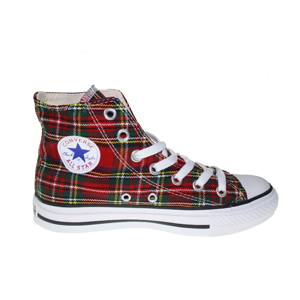 Converse All Star Tartán Ska Chuck Taylor Red/Tartan Hi 1q455 tamaño ...