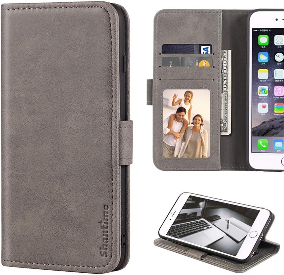 Lenovo Vibe K5 Case, Leather Wallet Case with Cash & Card Slots Soft TPU Back Cover Magnet Flip Case for Lenovo Vibe K5 Plus (Grey)