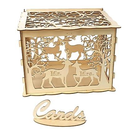 Amazon Com Btbtoc Hollow Design Diy Wedding Card Box With Lock And