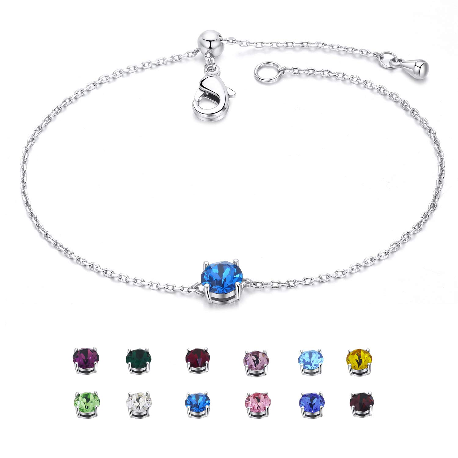 EGOO/&YAMEE Birthstone Bracelet White Gold Plated Crystal Adjustable Bangle 12 Color Gifts for Women