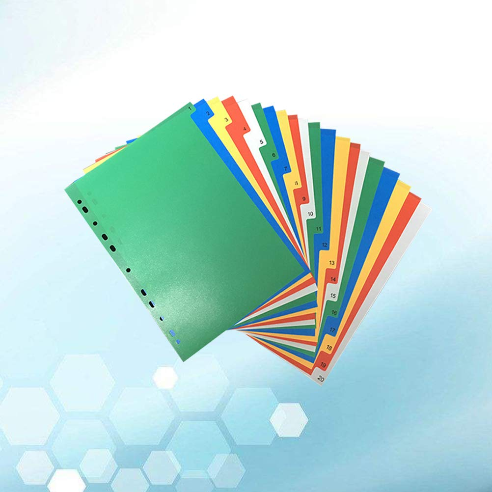 Exacompta A4 5 Part Polypropylene Plastic Coloured Dividers Printed For Index