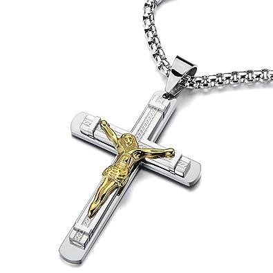 8deb588d9eaa0 COOLSTEELANDBEYOND Jésus Christ Croix Crucifix Pendentif Collier Homme -  Acier - Deux Tons Or et d
