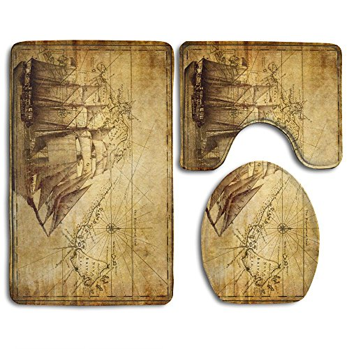 DING Old Map Nautical Pirate Ship Soft Comfort Flannel Washroom Mats,Non-Slip Absorbent Toilet Seat Cover Bath Mat Lid Cover,3pcs/Set Rugs ()