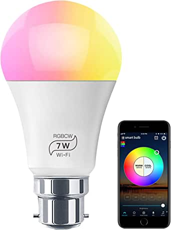 HaoDeng WiFi LED Light Bulb (B22) - Timer, Dimmable, Multicolor, Warm White - 60w Equivalent (7W), No Hub Required, Compatible with Alexa, Google Home Assistant and IFTTT
