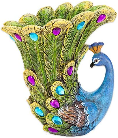 Bits and Pieces – Peacock Vase – Polyresin Sculpted Vase
