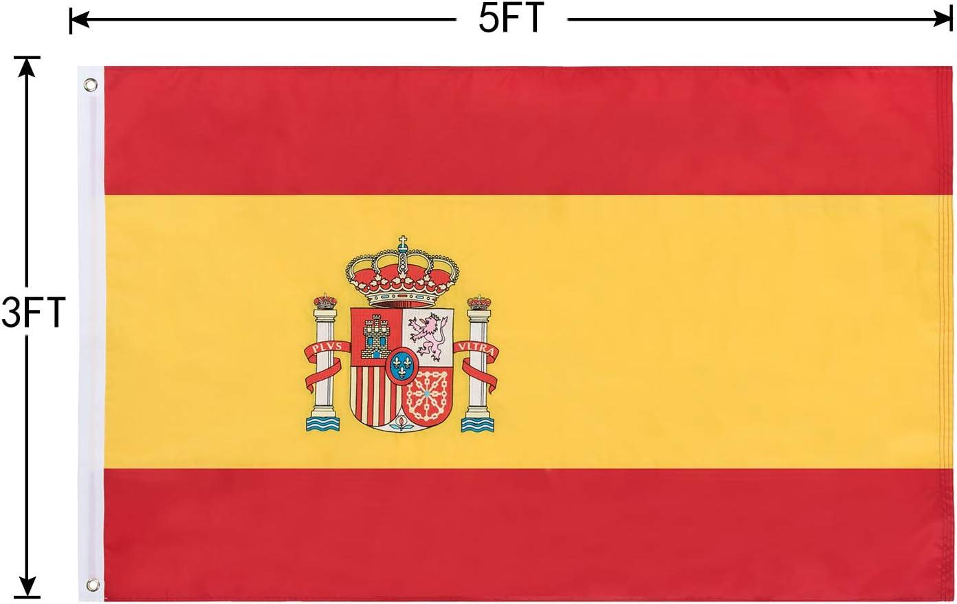 Lixure Bandera de España 5x3 Días Ventosos 5x3ft (150x90cm) Bandera Republicana Española Nylon 210D Durable para Exterior/Interior Bandera Decorativa Resistente a Rayos UVA: Amazon.es: Jardín