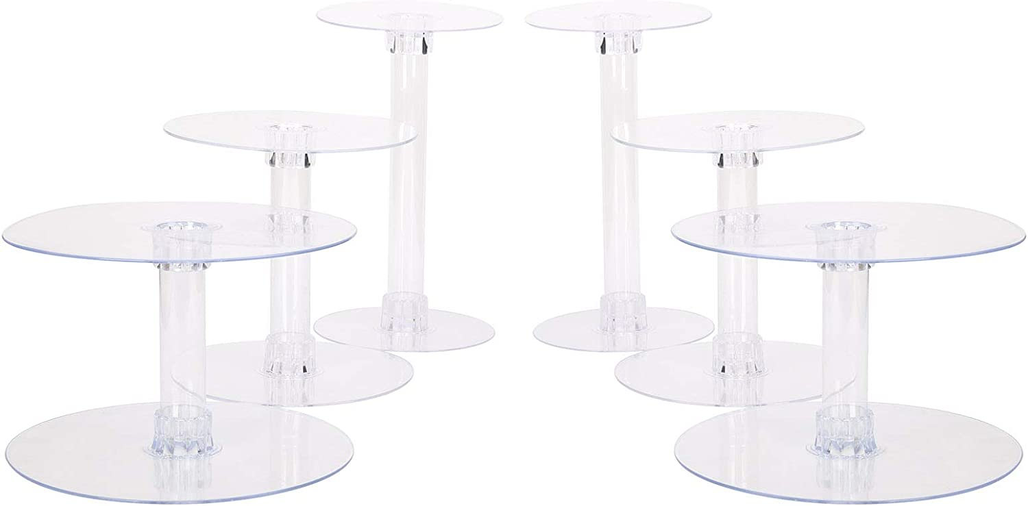 BalsaCircle 7 Tiers Clear Round Crystal Acrylic Cupcake Stand - Tiered Dessert Food Display Serving Tower Birthday Party Wedding