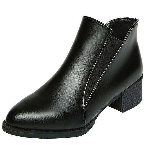 Mashiaoyi Botines Chelsea Punta-Puntiaguda Tacón Ancho sin Cordones para Mujer EU 36 Negro: Amazon.es: Zapatos y complementos