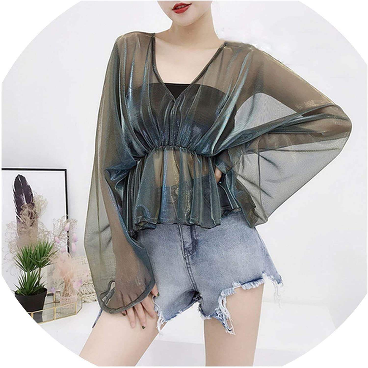 Womens Clothing Blouses Summer v-Neck Tops Sun Protection Female Perspective Thin Shirts