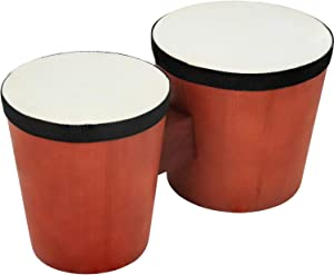 Click N' Play Percussion Bongo Drum Set for Kids & Beginners, Wooden Base & Natural Rabbit Skin Heads, Acoustic On Shell, 5
