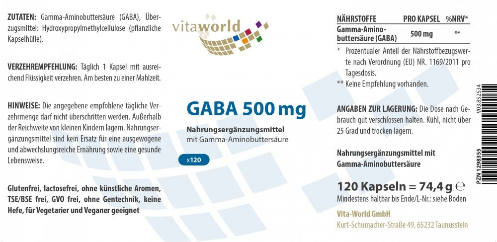 Pack de 3 GABA 500mg 3 x 120 Cápsulas Vita World Farmacia ...