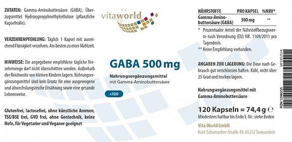 GABA 500mg 120 Cápsulas Vita World Farmacia Alemania - Ácido Gamma Amino Butírico -: Amazon.es: Salud y cuidado personal