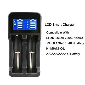 Malloom Cargador de batería USB de 2 Ranuras Pantalla LCD ...