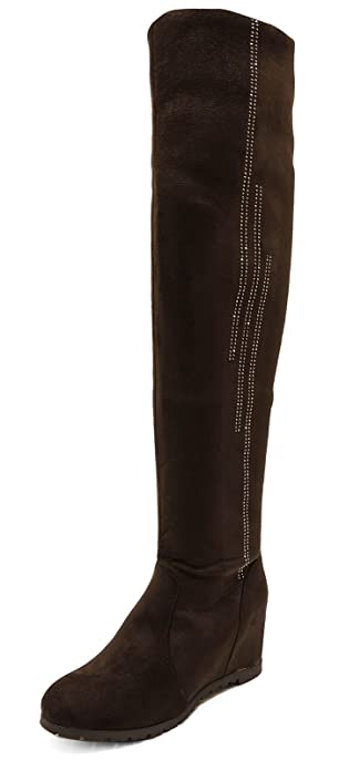 LADIES BLACK GREY SOFT STRETCH OVER THE KNEE HIGH ZIP PLATFORM BOOTS SHOES 3-8