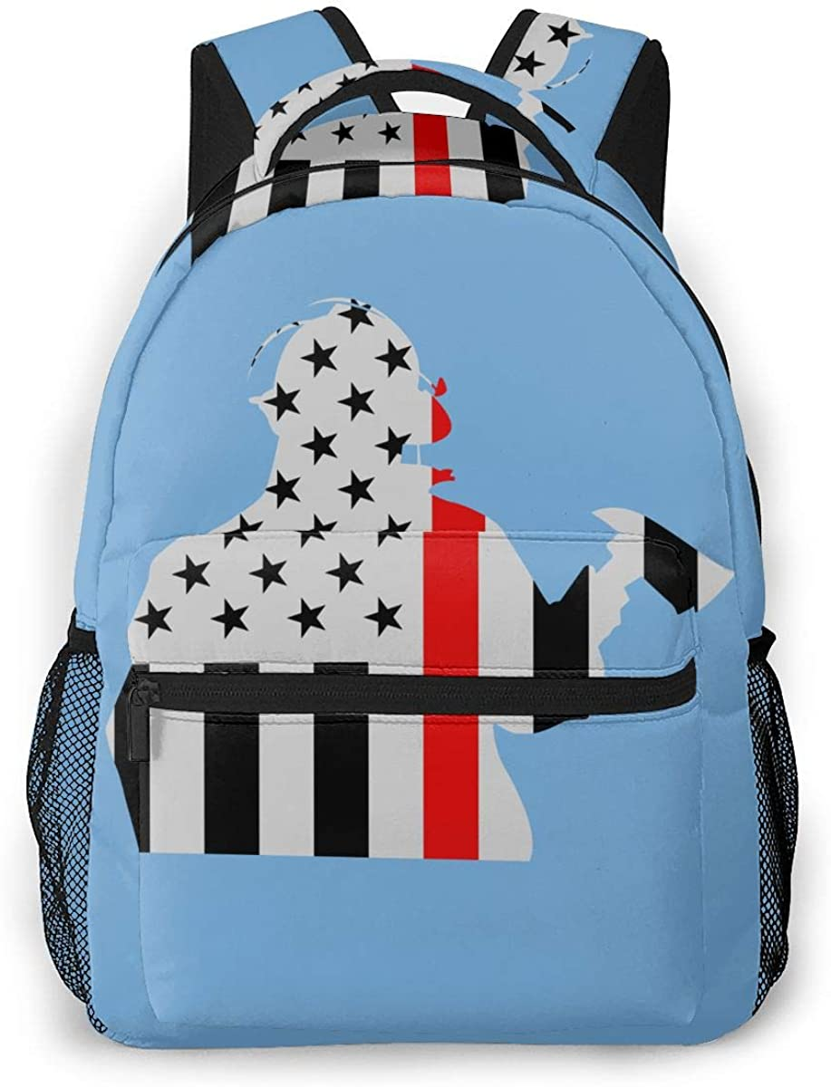 Thin Red Line Flag Fireman Casual Shoulders Backpack Lightweight Travel Bags For Unisex