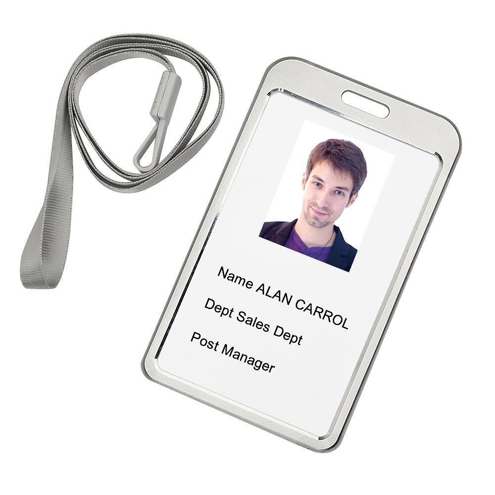 Tenn Well Aluminum Badge Holder, Waterproof Silver Id Badge with Detachable Neck Lanyard(Silver)