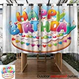Custom Outdoor Curtain Birthday Decorations for Kids Cartoon Happy Birthday Party Image Cake Candles Hearts Print Energy Efficient, Room Darkening 84'' W x 108'' L Multicolor
