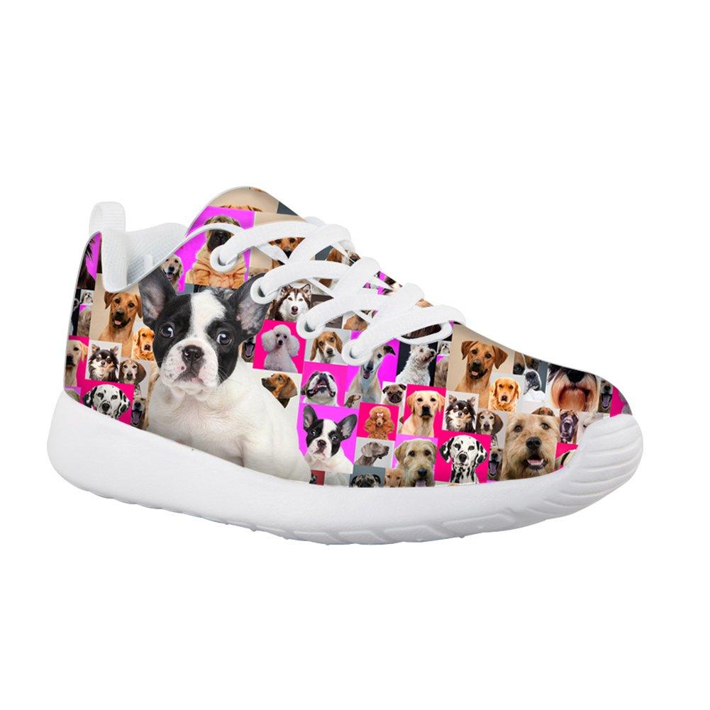 HUGS IDEA HUGSIDEA Pet Dog Print Kids Mesh Breathable Sneaker Fashion Running Shoes For Girls