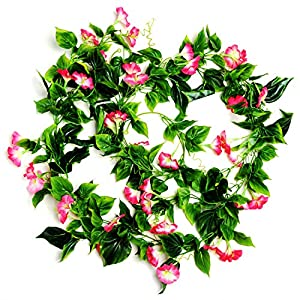 AyFashion Artificial Morning Glory Flower Vines, 2pcs 15Feet Hanging Plants Silk Garland Fake Green Plant Home Garden Wall Fence Indoor Outdoor Wedding Birthday Decor (Rose) 33