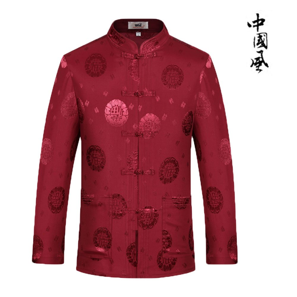 Tang Suit Man Traditional Chinese Clothing Suits Hanfu Spring festival gifts Uniform Cotton Long Sleeve (XL, Red)