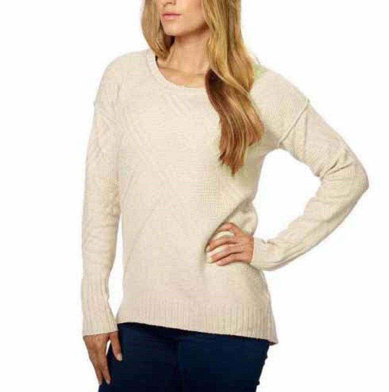 Calvin Klein Women's Crew Neck High-Low Hem Pullover Sweater (X-Large, Pristine)