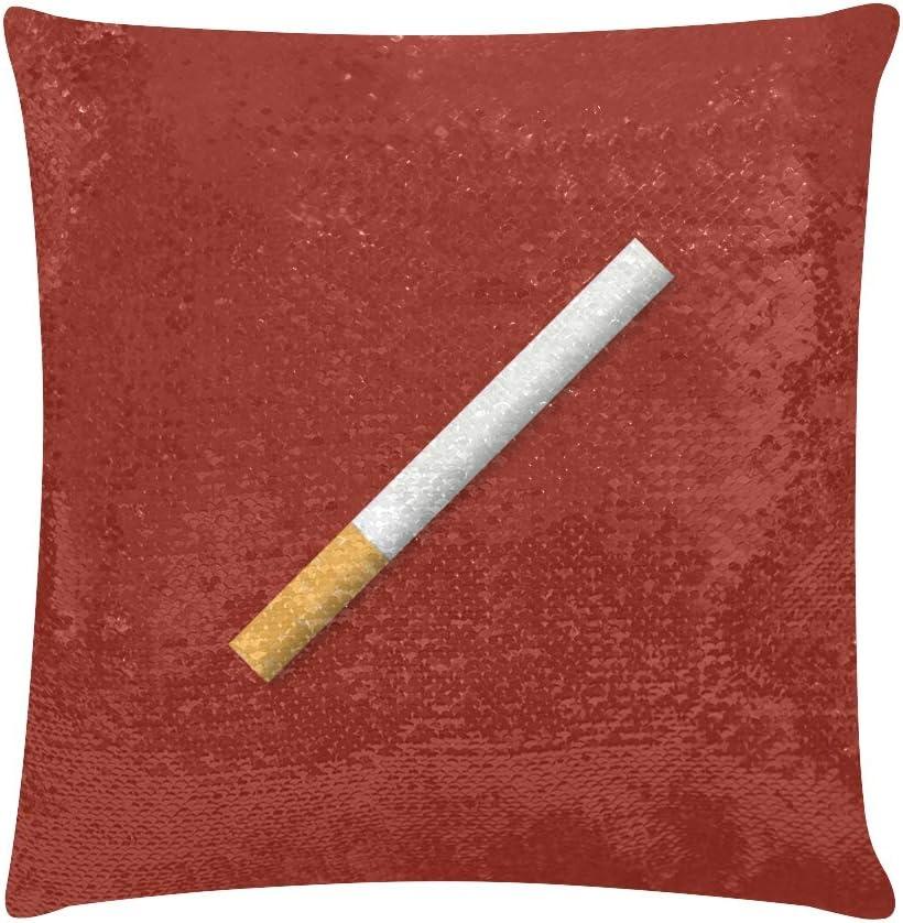LMFshop Funda de Almohada Boby Funda de Almohada de Lentejuelas para Fumar Cigarrillo 18 X 18 Pulgadas Fundas de Almohada Brillantes Reversibles Decoración para el hogar