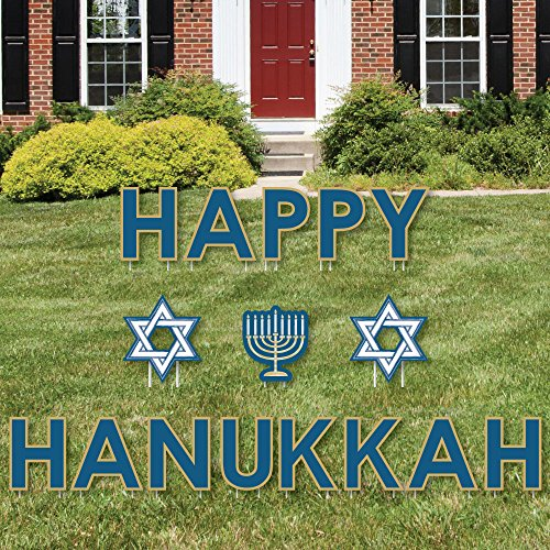 (Big Dot of Happiness Happy Hanukkah - Yard Sign Outdoor Lawn Decorations - Chanukah Yard Signs)