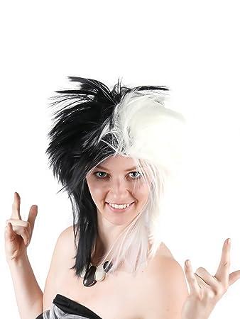 Adults Black Spikey Punk Rocker Mullet Wig Glam Rock Retro 80s Fancy Dress