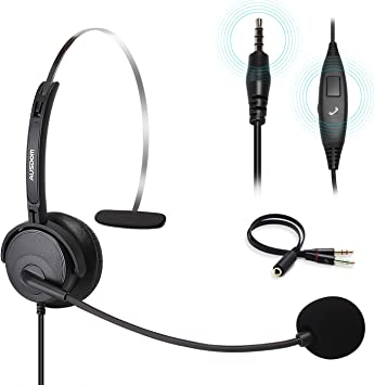 Amazon Com Business Headset With Noise Cancelling Mic Ausdom Bh01 3 5mm Wired Single Sided Cell Phone Headset With Volume Control And Siri For Laptop Computer Mac Pc Iphone Samsung Call Center Home Office Electronics