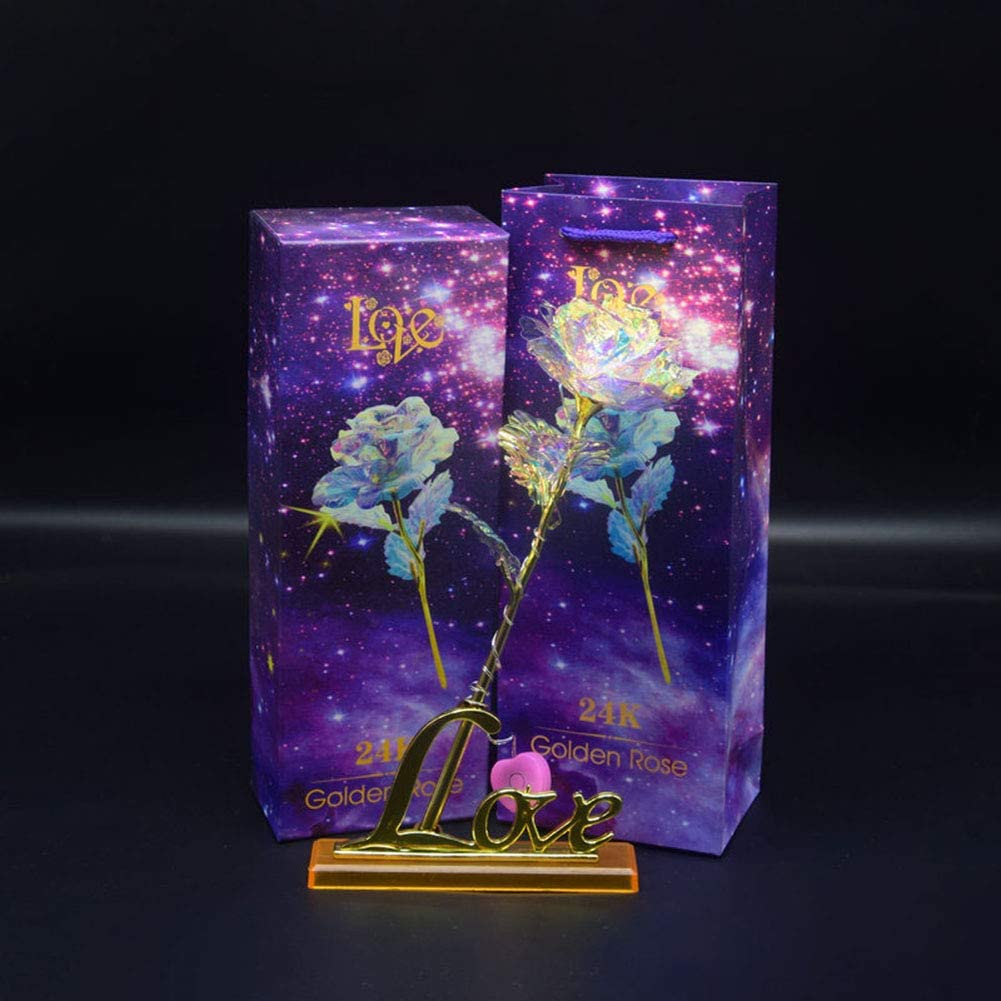24K Gold Foil Rose Flower LED Luminous Galaxy Mother/'s Day Valentine/'s Day Gift