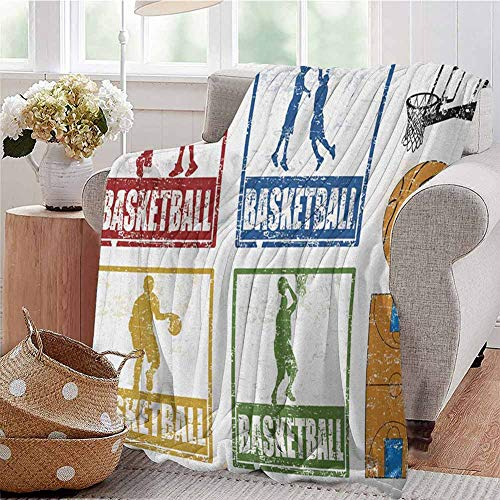 SONGDAYONE Comfortable Blanket Basketball Suitable for Bedroom Collection of Vintage Rubber Stamp Print Illustration Basketball Players W51 x L60 Navy Green Red (Benefits Of Ice Bath For Basketball Players)