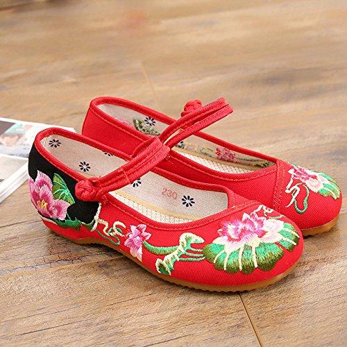 KHSKX-Lotus Schuhe Bestickt Schuhe Frauen Weibliche Folk - Schuhe Die Erhöhung Der Sehne Ende gules