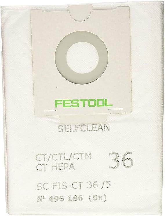 no 48 36//5 10x bolsas para aspirador tejido Festool CTL//CTM 36 48 AC,EAC