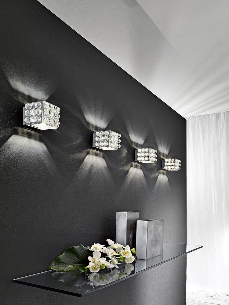 masiero Cubix-Lámpara de pared acero inoxidable mano cristal italiano, fabricado en italia.