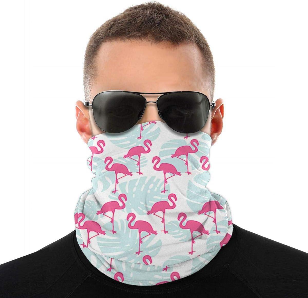 Ohrenw/ärmer Stirnband f/ür Sommersport im Freien Alysai Tropisch mit Flamingos und mintgr/ünen Palmbl/ättern Winddichte Skimaske Staub